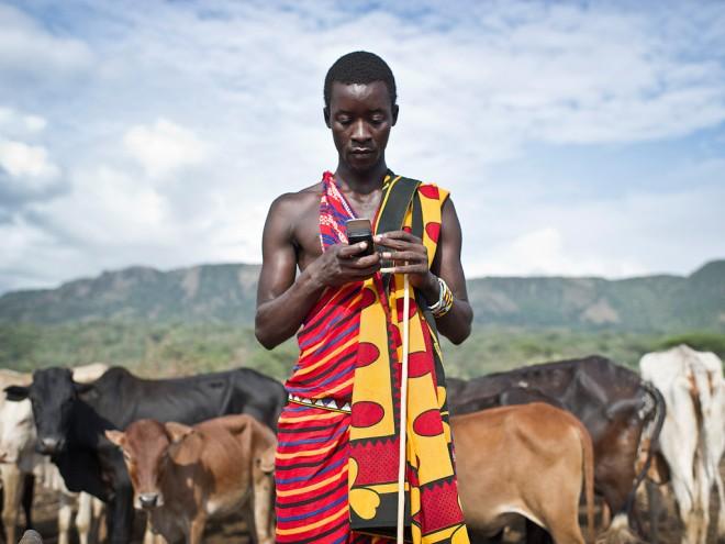 Masai Herdsman w Celphone